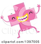 Clipart Of A Dancing Pink Monster Math Addition Symbol Character Royalty Free Vector Illustration by BNP Design Studio