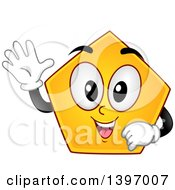 Clipart Of A Happy Yellow Pentagon Shape Character Royalty Free Vector Illustration