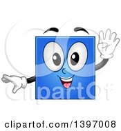 Clipart Of A Happy Blue Square Shape Character Royalty Free Vector Illustration by BNP Design Studio