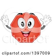 Clipart Of A Happy Nonagon Shape Character Royalty Free Vector Illustration