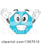 Clipart Of A Happy Blue Octagon Shape Character Royalty Free Vector Illustration