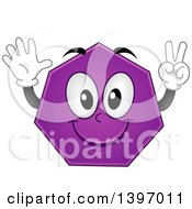 Clipart Of A Happy Purple Heptagon Shape Character Royalty Free Vector Illustration