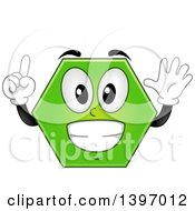 Clipart Of A Happy Green Hexagon Shape Character Royalty Free Vector Illustration