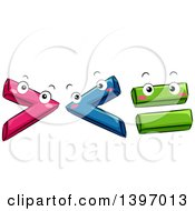 Clipart Of Cartoon Happy Mathematical Symbol Characters Royalty Free Vector Illustration