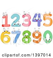 Clipart Of Cartoon Happy Colorful Number Characters 0 Through 9 Royalty Free Vector Illustration