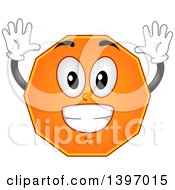 Clipart Of A Happy Orange Decagon Shape Character Royalty Free Vector Illustration