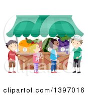 Clipart Of A Group Of Children At A Fruit Juice Stand Royalty Free Vector Illustration by BNP Design Studio