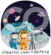 Clipart Of Children Using A Telescope On A Moon Camp Royalty Free Vector Illustration