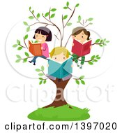 Clipart Of A Group Of Happy Students Reading Books On Tree Branches Royalty Free Vector Illustration by BNP Design Studio