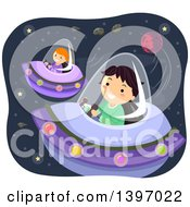 Clipart Of Children Flying UFOs In Outer Space Royalty Free Vector Illustration by BNP Design Studio