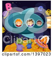 Clipart Of A Group Of Students Imagining They Are In A Rocket And Waving At Aliens Royalty Free Vector Illustration
