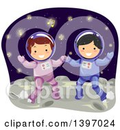 Clipart Of Students In Astronaut Suits Royalty Free Vector Illustration