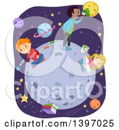 Clipart Of Students Doing Lessons On The Moon Royalty Free Vector Illustration
