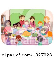 Clipart Of A School Pot Luck Party Royalty Free Vector Illustration