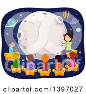 Clipart Of A Science Teacher Giving Students A Lesson About Astronomy Royalty Free Vector Illustration by BNP Design Studio