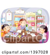 Clipart Of A Group Of Children Doing Crafts Royalty Free Vector Illustration