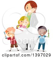 Clipart Of A Group Of Children Learning About Dentistry Royalty Free Vector Illustration