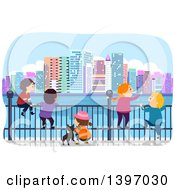 Clipart Of A Group Of Students On A Field Trip In A City Royalty Free Vector Illustration