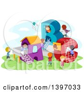 Clipart Of A Playground With ABC Structures And Playing Children Royalty Free Vector Illustration by BNP Design Studio