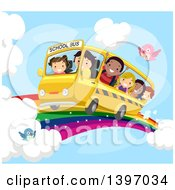 School Bus And Children Riding On A Rainbow In The Sky