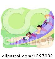 Clipart Of Children Going Down A Dinosaur Tail Slide Royalty Free Vector Illustration