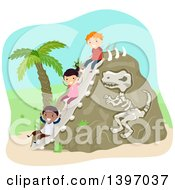 Clipart Of A Dinosaur Bone Rock And Children Going Down A Slide Royalty Free Vector Illustration by BNP Design Studio