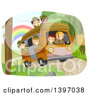 Clipart Of A Group Of Students On A Field Trip Riding In A Camper Royalty Free Vector Illustration