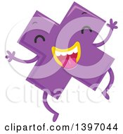 Clipart Of A Dancing Purple Monster Math Multiplication Symbol Character Royalty Free Vector Illustration