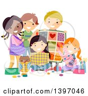Clipart Of A Group Of Students With Sewing Materials And Projects Royalty Free Vector Illustration by BNP Design Studio
