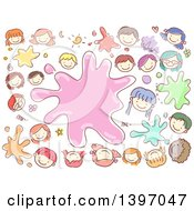 Clipart Of A Paint Splatter With Sketched Happy Kids Royalty Free Vector Illustration by BNP Design Studio