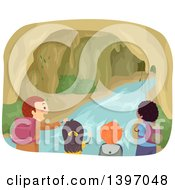 Clipart Of A Group Of Children Exploring A Cave With Water Royalty Free Vector Illustration by BNP Design Studio