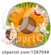 Clipart Of A Group Of Fairy Children Looking Up From A Sunflower Royalty Free Vector Illustration