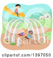 Clipart Of A Dinosaur Bone Swing Set And Children With A Dino Royalty Free Vector Illustration by BNP Design Studio