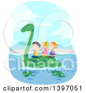 Clipart Of A Group Of Children Wearing Life Jackets And Riding On A Swimming Pliosaur Dinosaur Royalty Free Vector Illustration