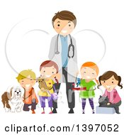 Clipart Of A Group Of Students On A Field Trip To A Veterinarians Office Royalty Free Vector Illustration by BNP Design Studio
