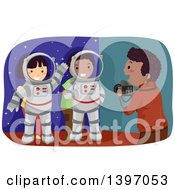 Clipart Of A Man Taking Pictures Of Kids In An Astronaut Photo Op Royalty Free Vector Illustration