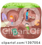 Clipart Of A Group Of Students Excavating And Discovering Alphabet Letters Royalty Free Vector Illustration