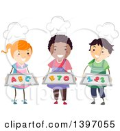 Clipart Of A Group Of Home Economics Students Wearing Chef Hats And Holding Number And Letter Cookies Royalty Free Vector Illustration