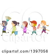 Clipart Of A Line Of Children Carrying Cleaning Supplies Royalty Free Vector Illustration