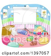 Clipart Of A Projection Screen In A Play Room Royalty Free Vector Illustration by BNP Design Studio