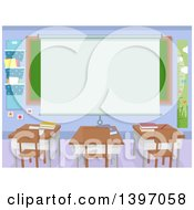 Clipart Of A Projector Screen Over A Chalkboard In A Class Room Royalty Free Vector Illustration