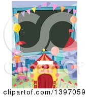 Clipart Of A Blank Sign And Carnival Things Royalty Free Vector Illustration