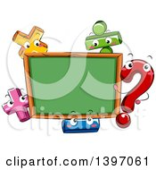 Clipart Of A Blank Chalk Board Bordered With Math Symbol Characters Royalty Free Vector Illustration