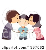 Clipart Of A Loving Mother And Father Kissing Their Son Royalty Free Vector Illustration