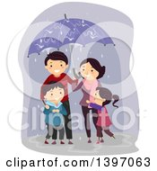 Happy Family Sharing An Umbrella In The Rain