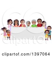 Happy African American Family Around A Banner