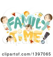 Clipart Of A Father Mother And Children With Family Time Text Royalty Free Vector Illustration