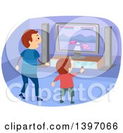 Clipart Of A Father And Son Playing An Interactive Racing Video Game Royalty Free Vector Illustration
