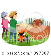 Clipart Of A Happy Family On A Farm Tour Royalty Free Vector Illustration