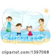 Clipart Of A Happy Family Playing At A Beach Royalty Free Vector Illustration